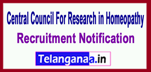 CCRH (Central Council for Research in Homoeopathy) Recruitment Notification 2018