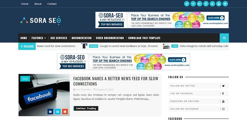 Sora Seo Free Blogger Template