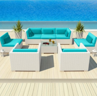 Uduka Outdoor Patio Furniture White Wicker Set Daly 8 Turquoise All Weather Couch