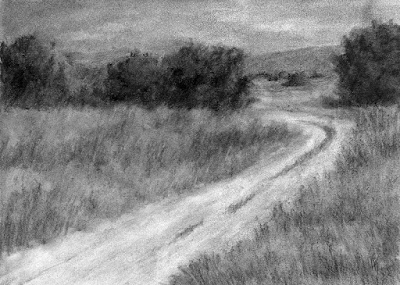 art drawing charcoal open space rural black white