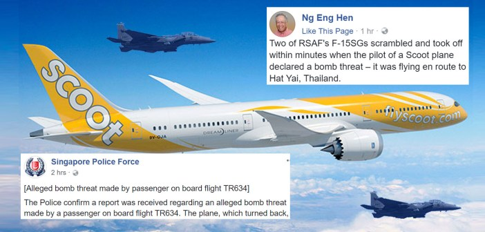 2 Fighter Jets Escort Scoot Flight With Alleged Bomb Threat Back To Singapore Safely