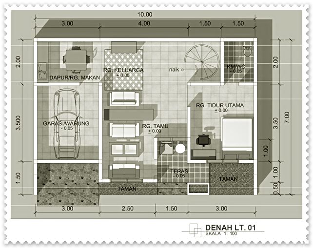 gambar sket rumah minimalis sederhana