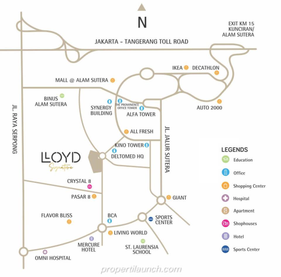 Peta Lokasi Apartemen Lloyd Signature