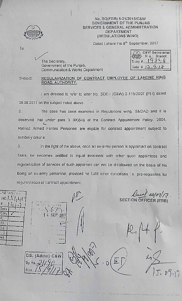 REGULARIZATION OF CONTRACT EMPLOYEES OF LAHORE RING ROAD AUTHORITY