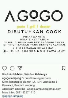 Kesempatan Bekerja di AGOGO CAFE Bandar Lampung Terbaru Mei 2018