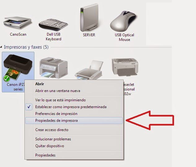 printer properties in Windows 7