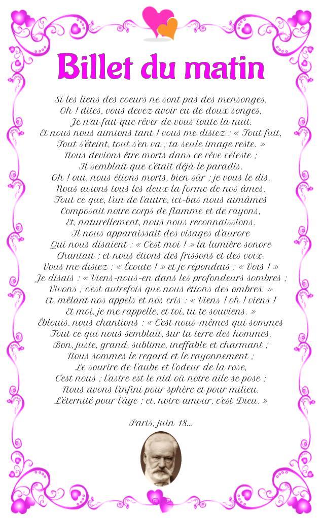 Poème : Billet du matin de Victor Hugo