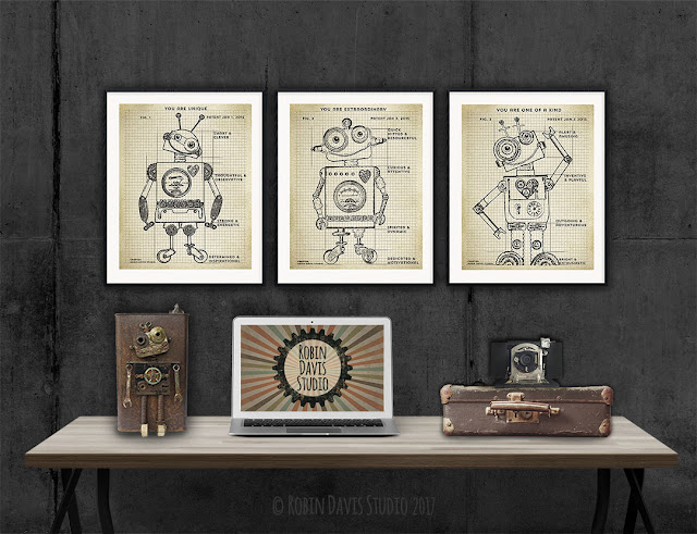 Robots with Affirmation by Robin Davis Studio