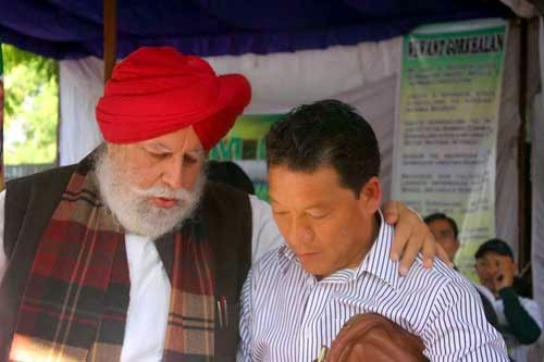 Darjeeling MP SS Ahluwalia with GTA chief Bimal Gurung