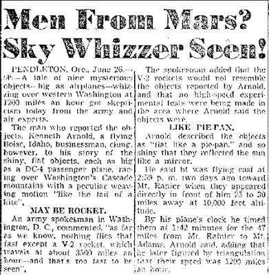 Me from Mars Sky Whizzer Seen - San Antonio Light 6-26-1947