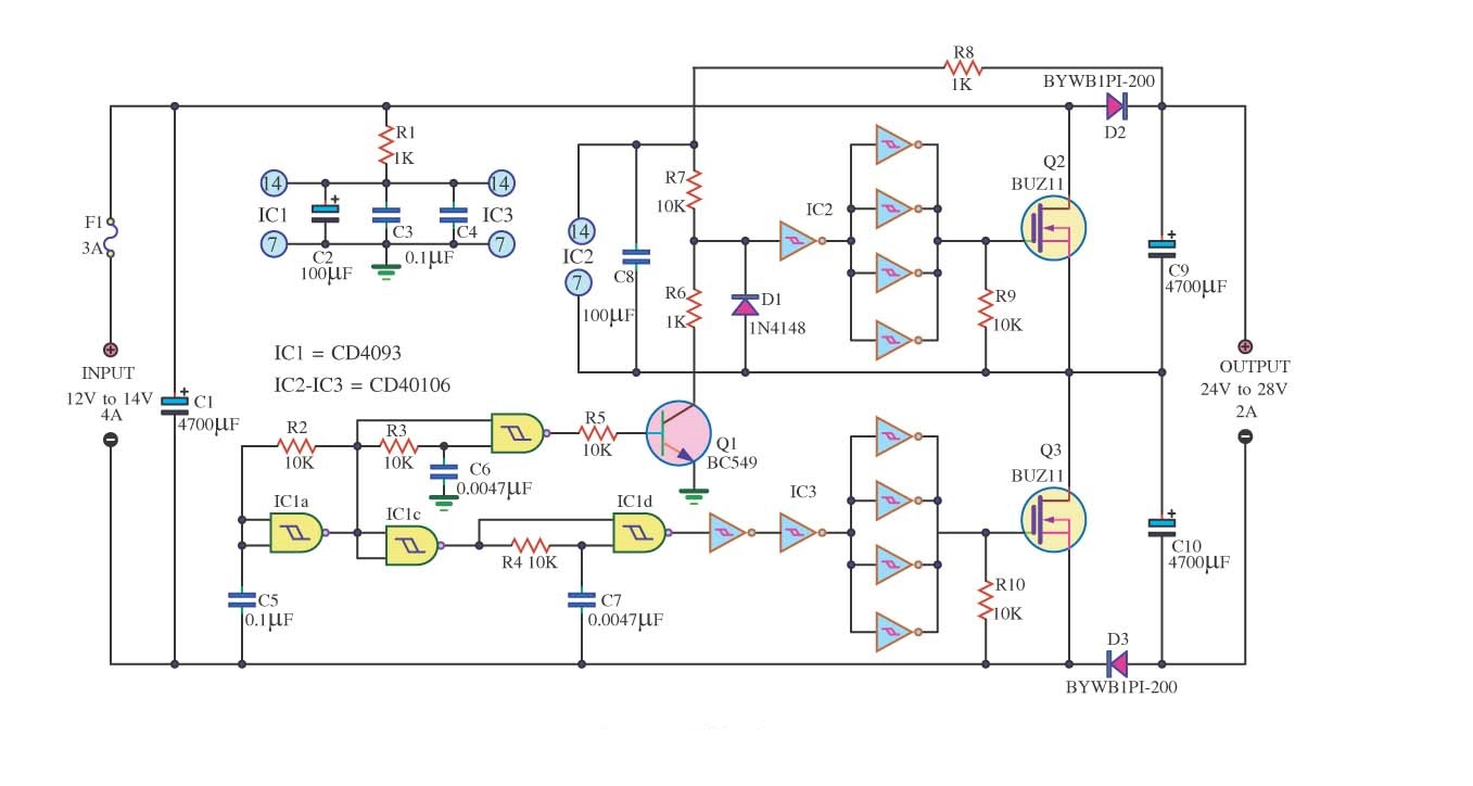 Dc Converter 12v To 24v 2a Circuit Diagram Battery Level Indicator
