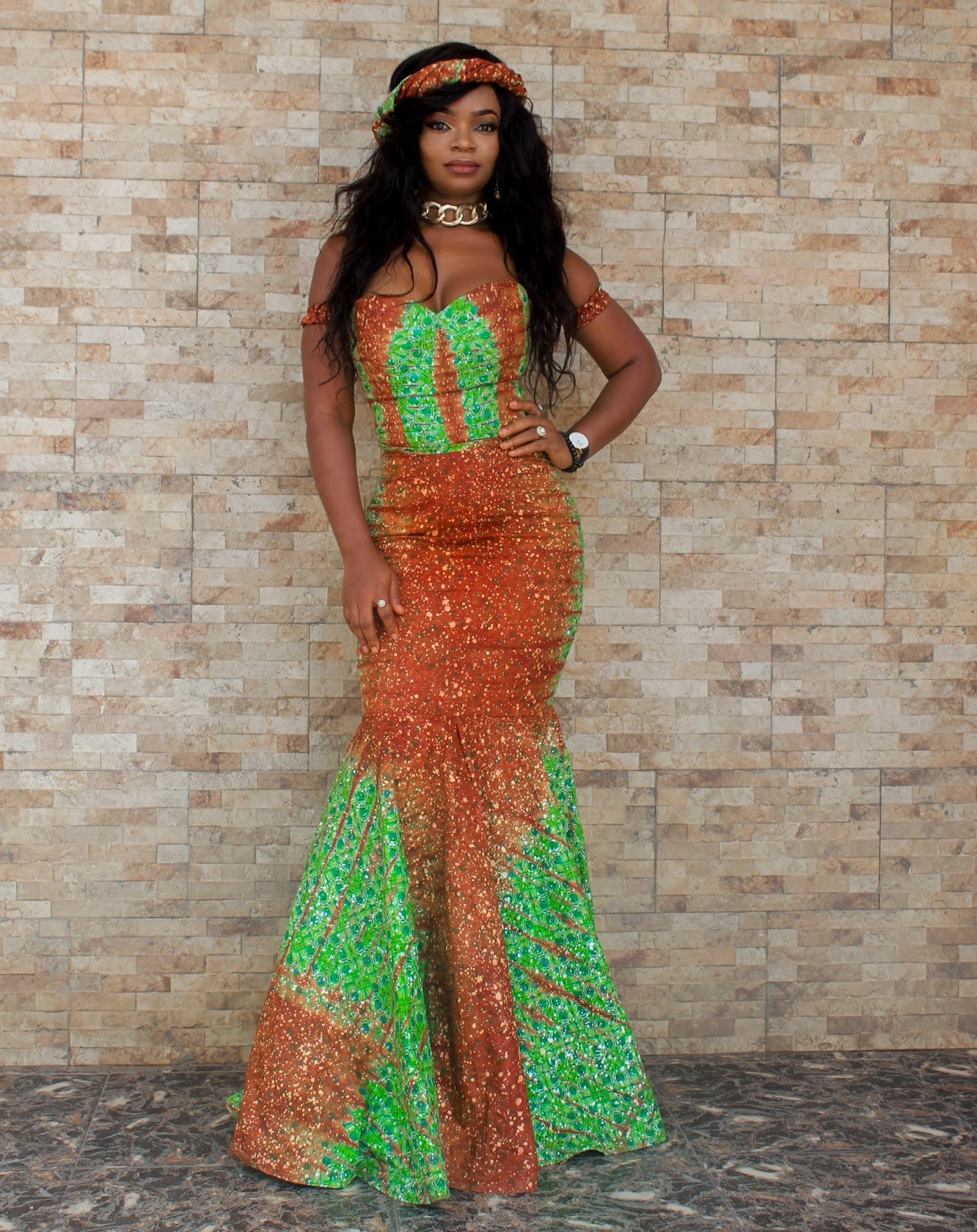 THANKSGIVING IN ADIRE - African Inspired: Mermaid Style Dress with Adire Fabric