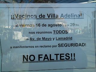 Manifestación por seguridad en Villa Adelina