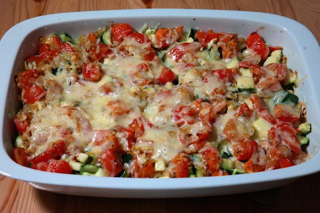 Gratin au courgettes et tomates
