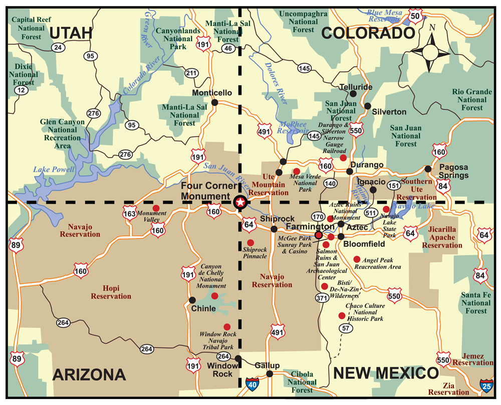 Map 4 Corners United States  Corners Of The Us Region Map on four corners region, map of arizona and 4 corners, map of west region,