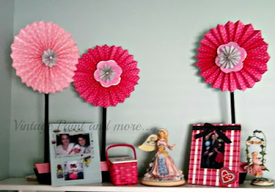 Vintage, Paint and more... giant pinwheel flowers used in Valentine decor