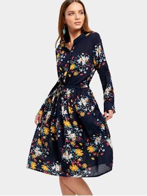 Drawstring Waist Long Sleeve Flower Dress