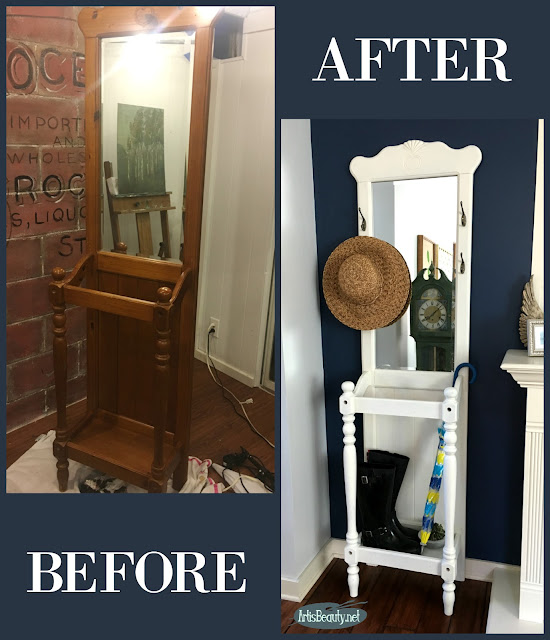 Before and After Vintage hall tree umbrella tree holder stand antique white general finishes painted makeover