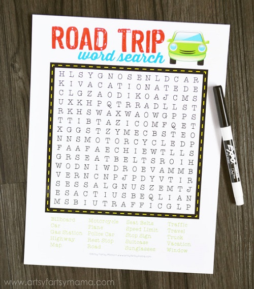 Free Printable Road Trip Word Search