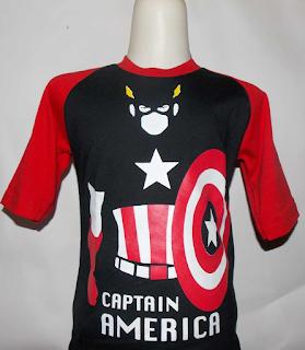 Kaos Raglan Anak Karakter Captain America