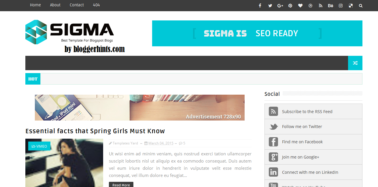 New Sigma Blogger/Blogspot Template