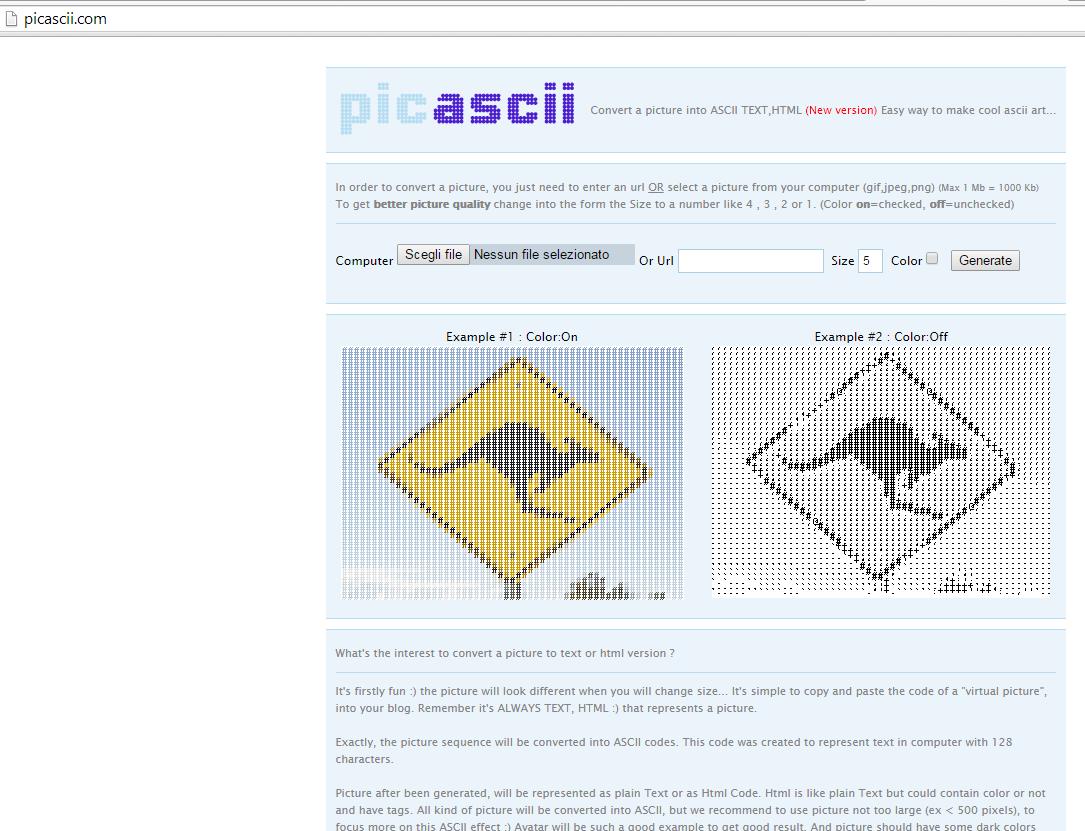 Da immagine ad Ascii Art
