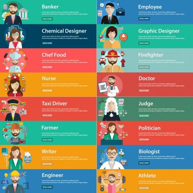 Colección de banners de profesiones