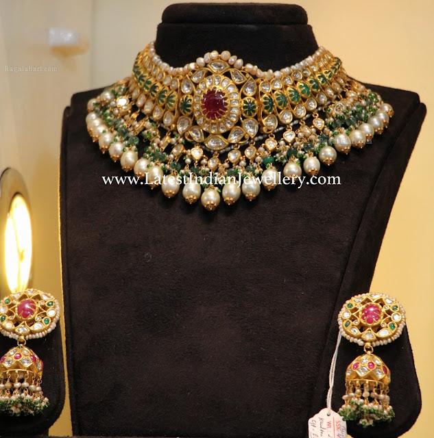Grand Emerald Jadau Choker Jhumkas