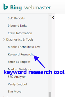 how to use Bing keyword research tool