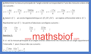 Série d'exercices maths tronc commun international : Trigonométrie partie1 et part2