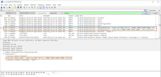 WireShark bluetooth APT-X