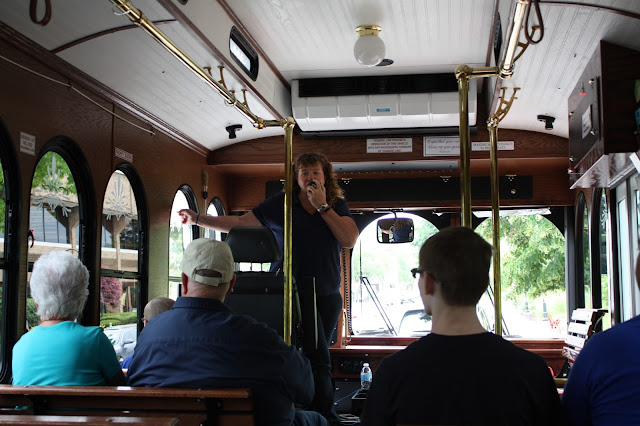 Annette Wehrli of Naperville Trolley giving a tour