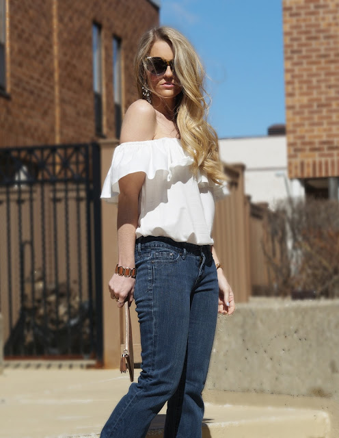 dark denim with a ruffled top
