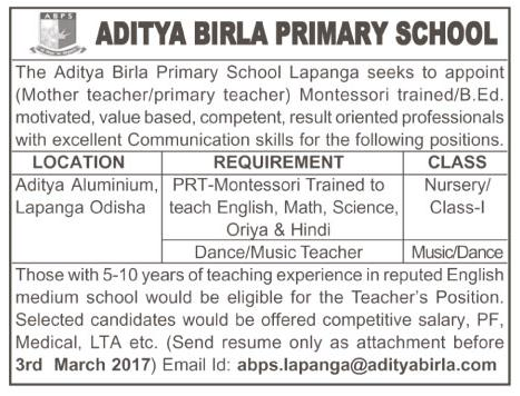 Aditya Birla Primary School, Odisha Wanted PRT - Faculty