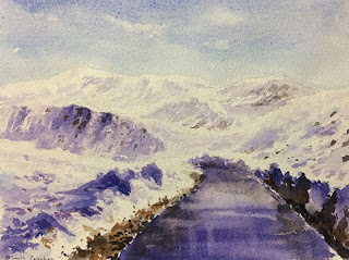 """Water colour painting of a scene from """"Journey to Ladakh"""""""