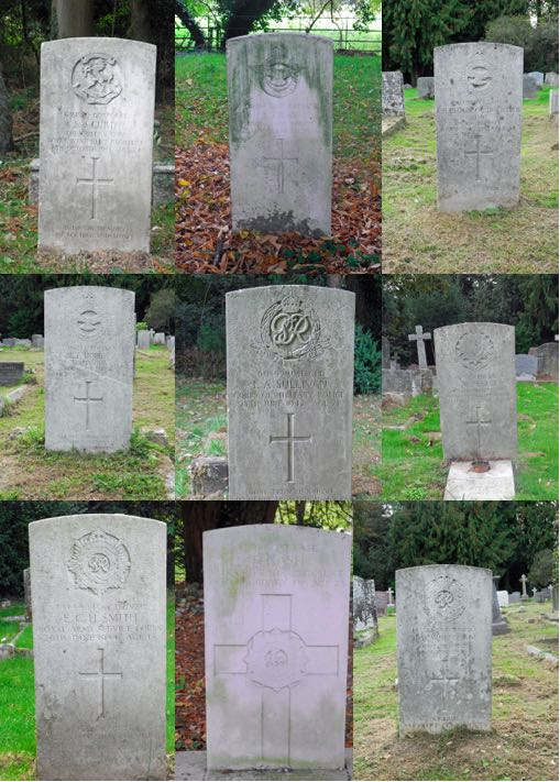 Photograh of The nine war graves in St Mary's churchyard, North Mymms  Image by the North Mymms History Project, released under Creative Commons BY-NC-SA 4.0The nine war graves in St Mary's churchyard, North Mymms  Image by the North Mymms History Project, released under Creative Commons BY-NC-SA 4.0