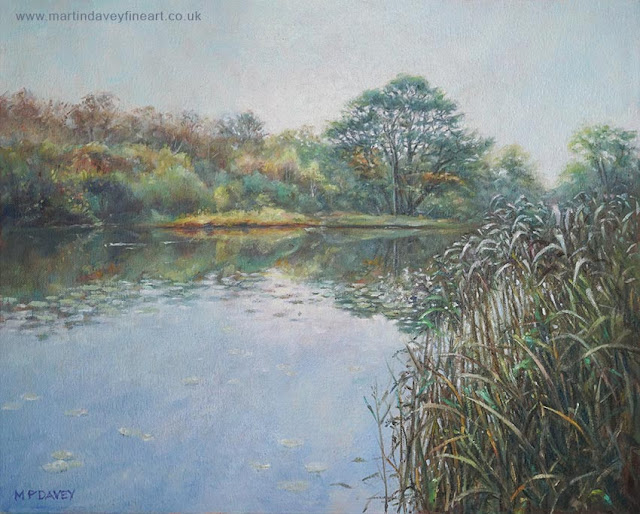 ornamental lake hampshire landscape painting Martin Davey