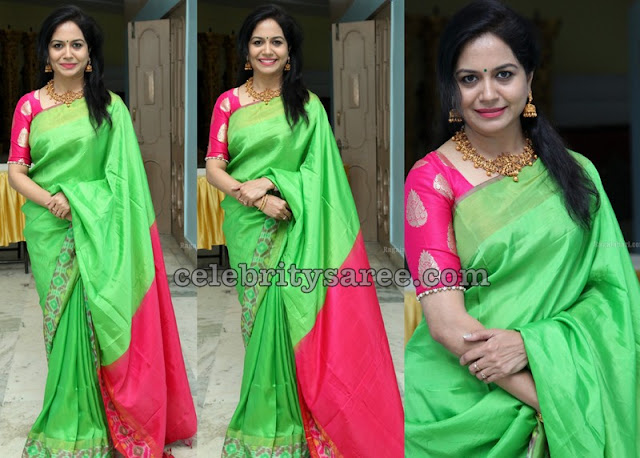 Singer Sunitha in Green Printed Silk Saree