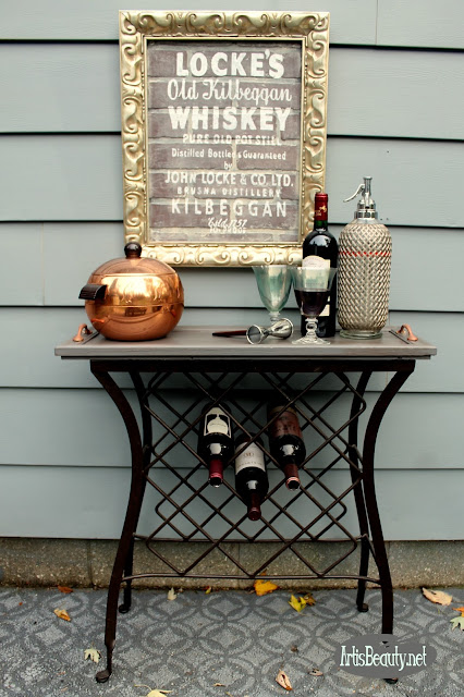 upcycled cupboard cabinet door turned wine cabinet
