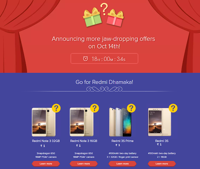 Xiaomi 1Re Flash Sale Register to Get Redmi 3S, Redmi Note 3 and more