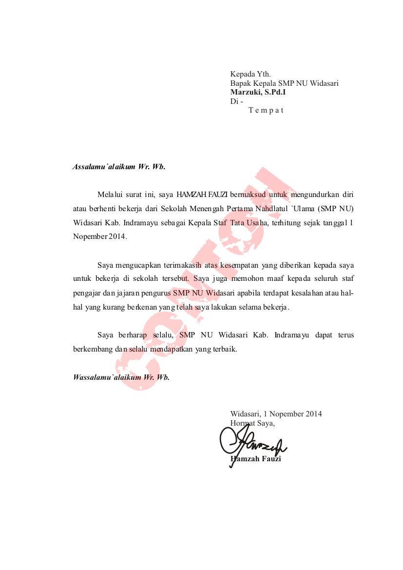 Contoh Surat Pengunduran Diri Dari Jabatan Struktural Pns Contoh Win