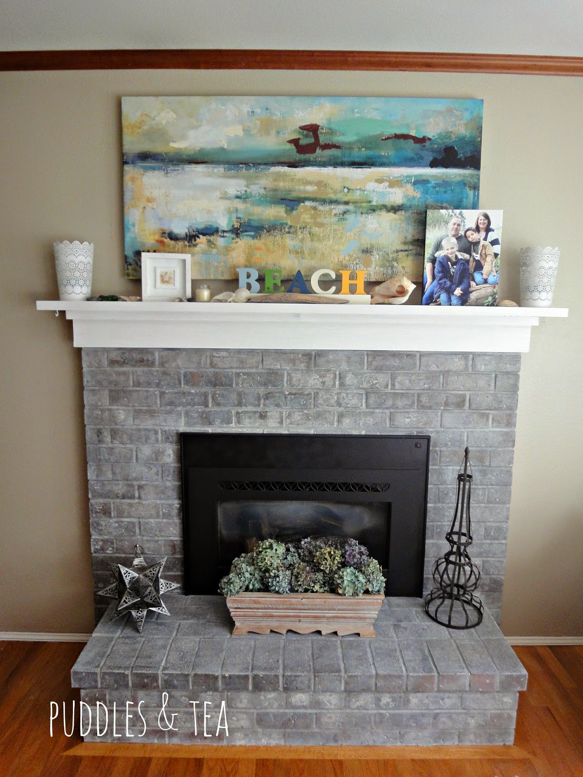 Puddles & Tea: White Wash Brick Fireplace Makeover