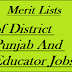 District Wise Punjab Educator Jobs 2017-18 Merit Lists