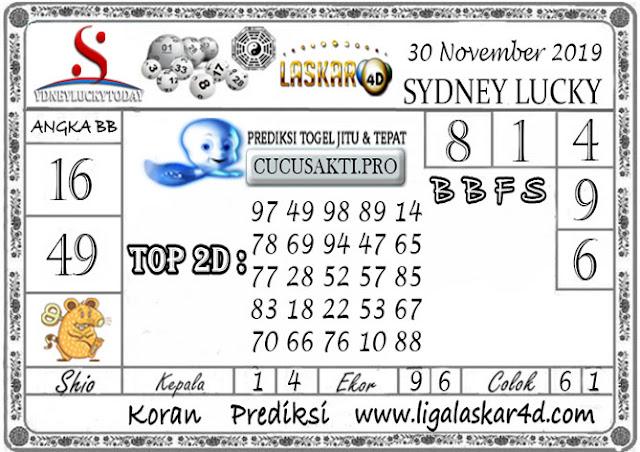 Prediksi Sydney Lucky Today LASKAR4D 30 NOVEMBER 2019