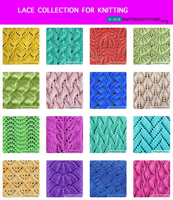 Lace Collection for Knitting. Free Lace and Eyelet Knitting stitch. #laceknitting #knittingstitches