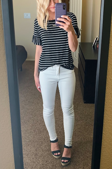 White jeans with a striped top