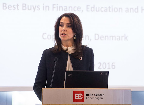 Crown Princess Mary opens Women Deliver Conference 2016 at Bella Center in Copenhagen. Crown Prince Frederik, Princess Benedikte of Denmark and Princess Mabel. Princess Mary wore Hugo Boss skirt
