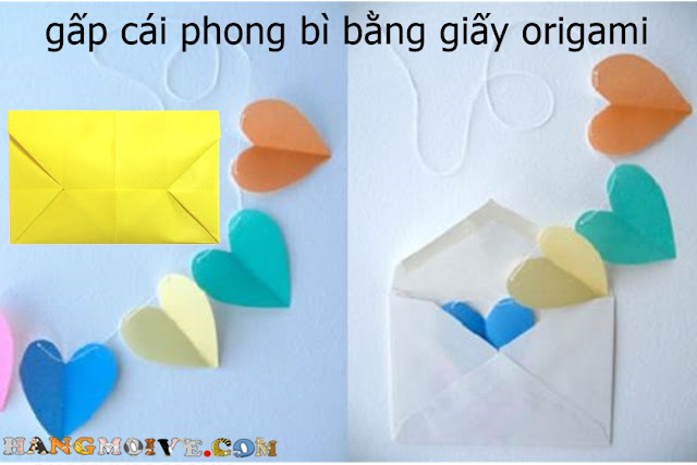 Cách gấp, xếp cái phong bì bằng giấy origami - How to make an Envelope