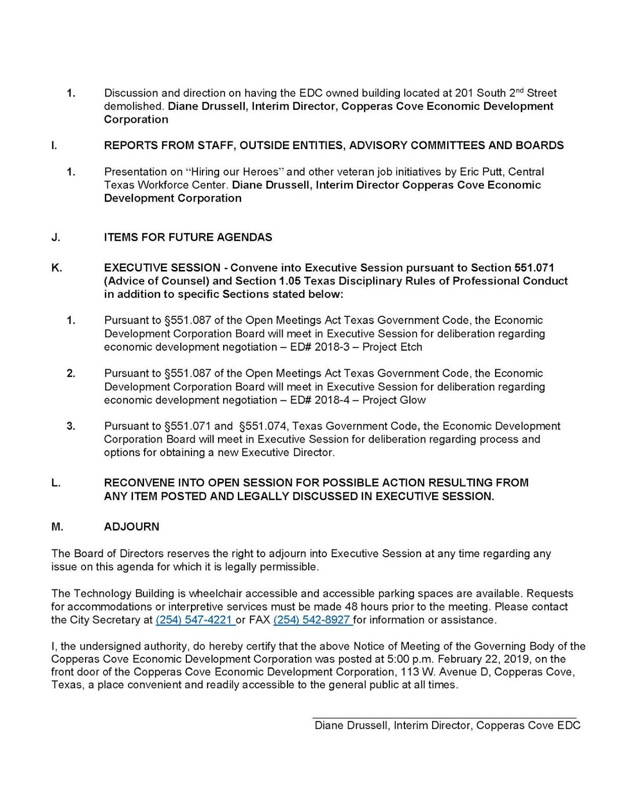 Speak Up!!! Copperas Cove: February EDC meeting!