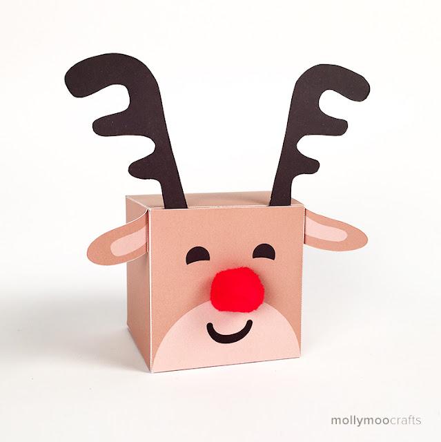 Papercraft imprimible y recortable de una Caja del Reno Rudolph de Santa Claus. Manualidads a Raudales.
